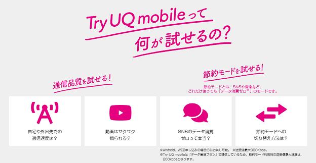 Try UQ mobile 試せること