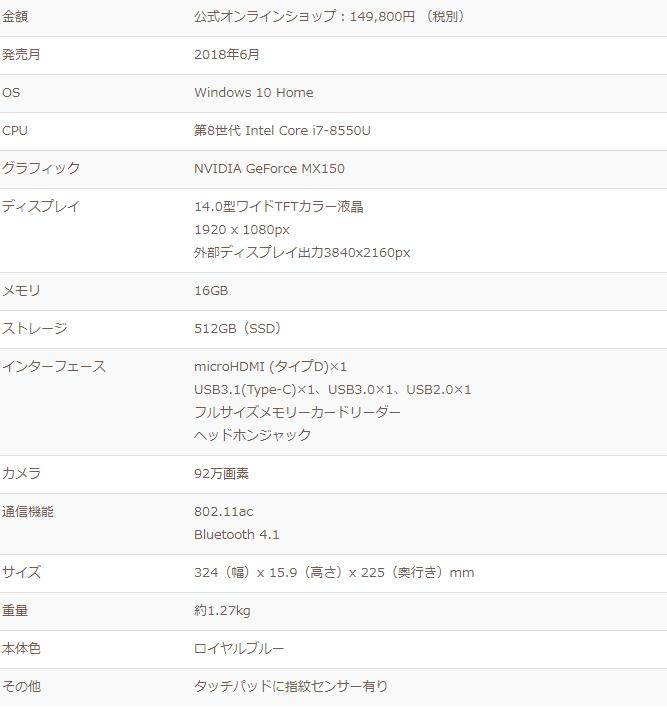 ZenBook14スペック表
