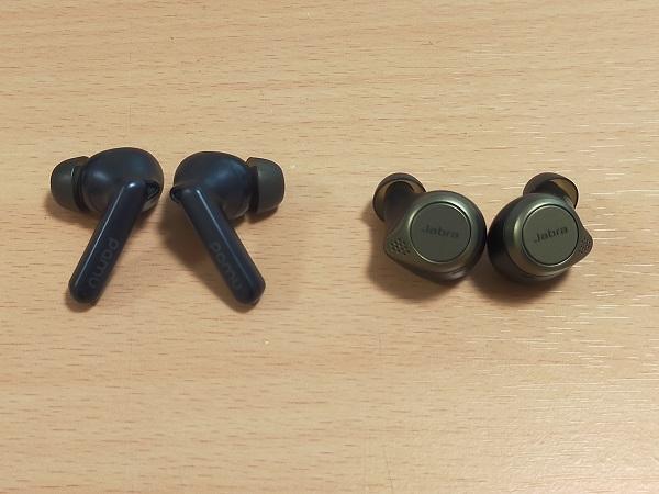 PaMu Quiet MiniとJabra Elite 75tのイヤホンサイズ比較