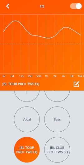 JBL TOUR PRO+ TWSのイコライザー設定